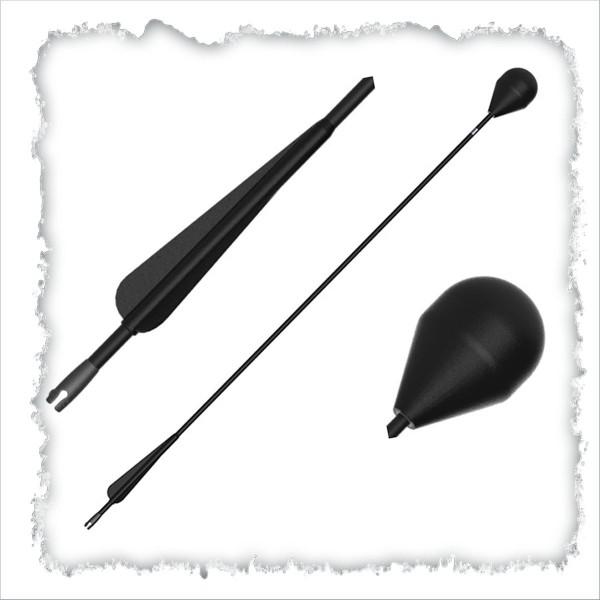 LARP-Pfeil, Rundkopf, schwarzer Schaft, 76cm