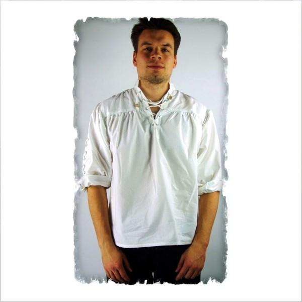 Stehkragen-Schnürhemd mit Ärmelschnürung