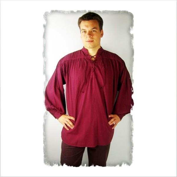 typisches Mittelalter-Stehkragen-Schnürhemd